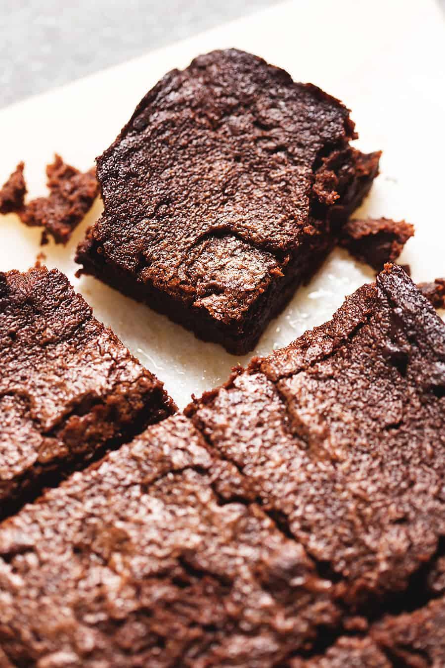 Baking sheet with keto brownies