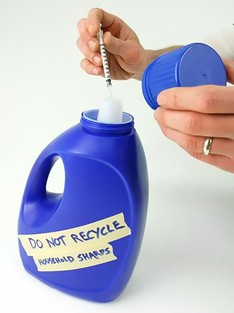 Plastic bottle used as sharps container