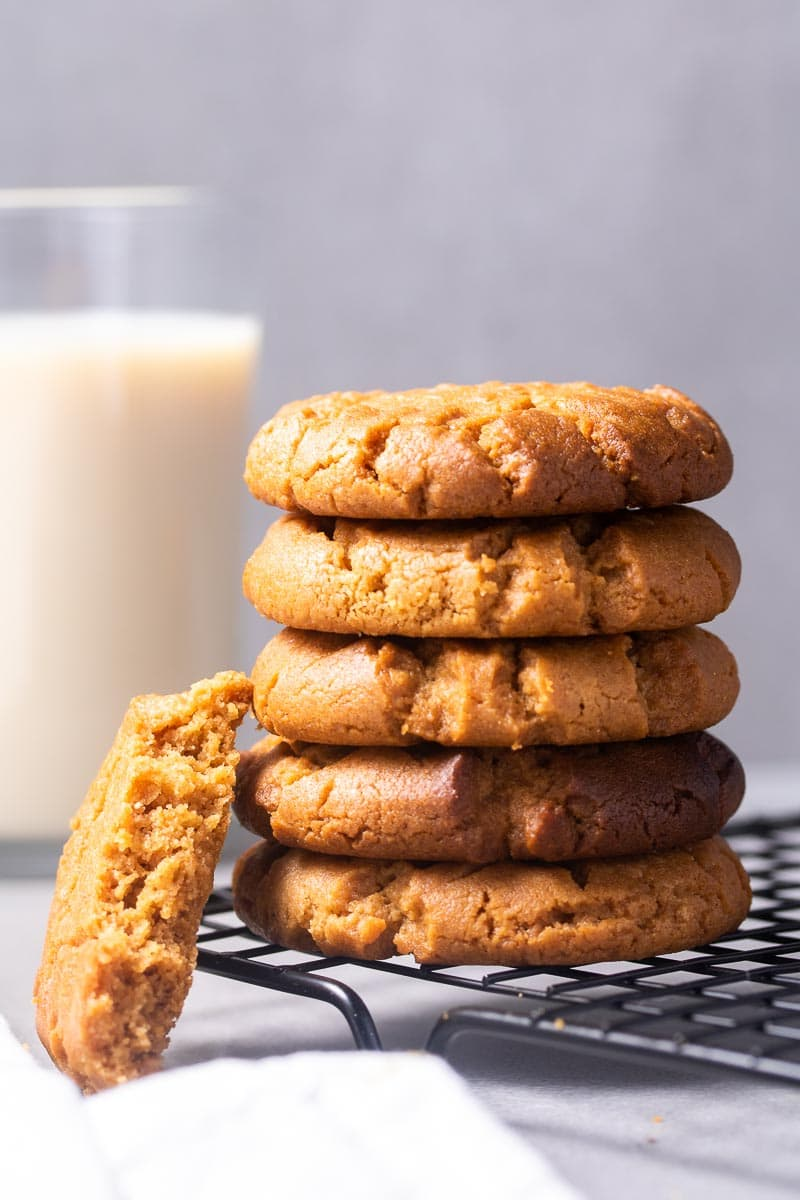 Stack of Low-Carb Peanut Butter Cookies on a cooling rack