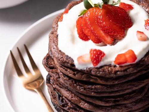 Keto chocolate protein pancakes