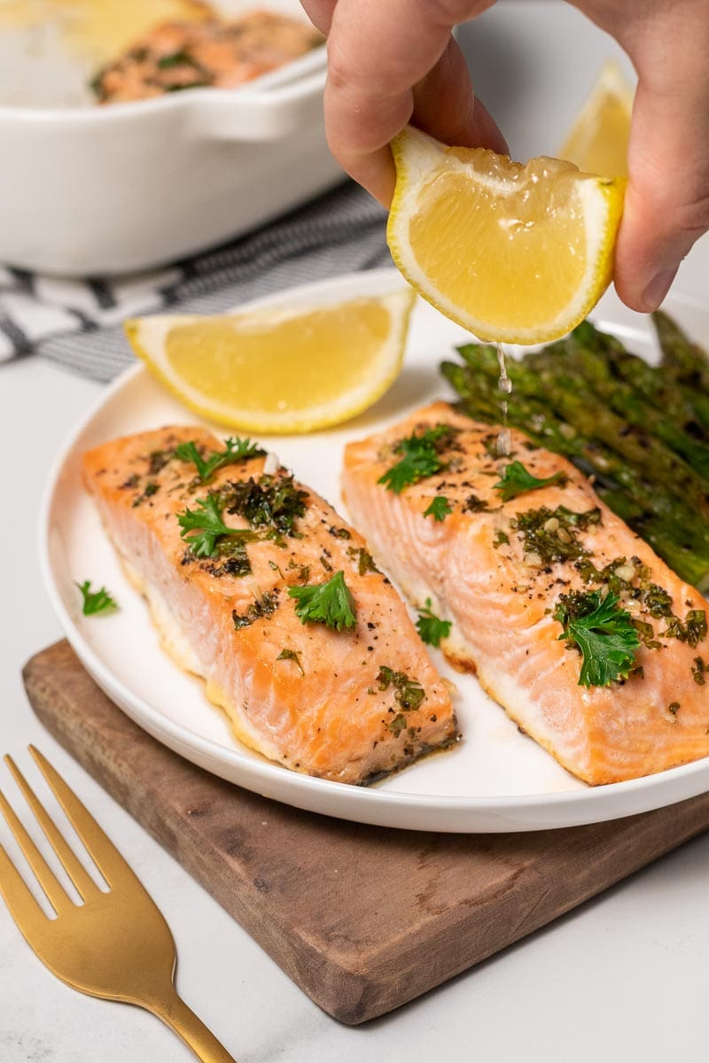 Baked Salmon with Lemon-Garlic Butter