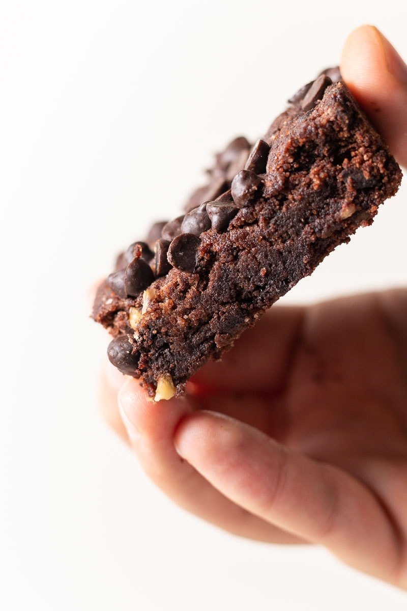 Close up view of the texture of these keto brownies