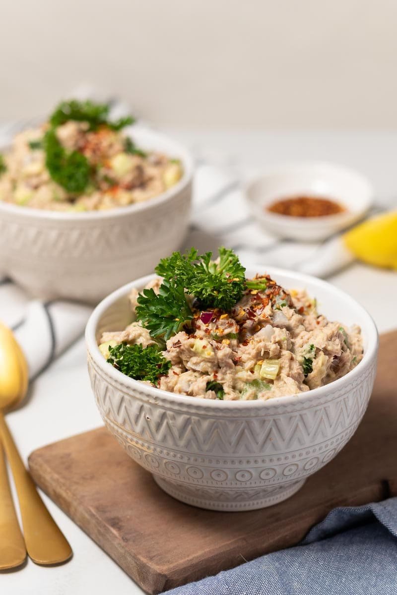 Tuna salad in a bowl, ready to eat