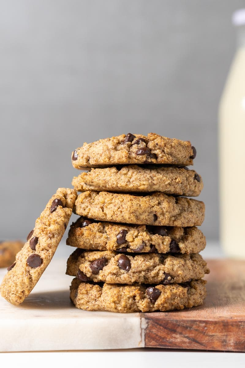 Stack of low-carb cookies with milk in the background