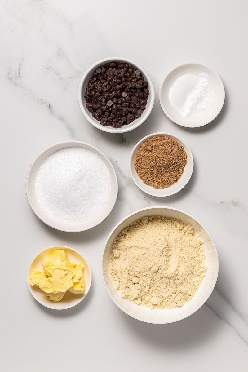 Raw ingredients for the diabetic chocolate chip cookies