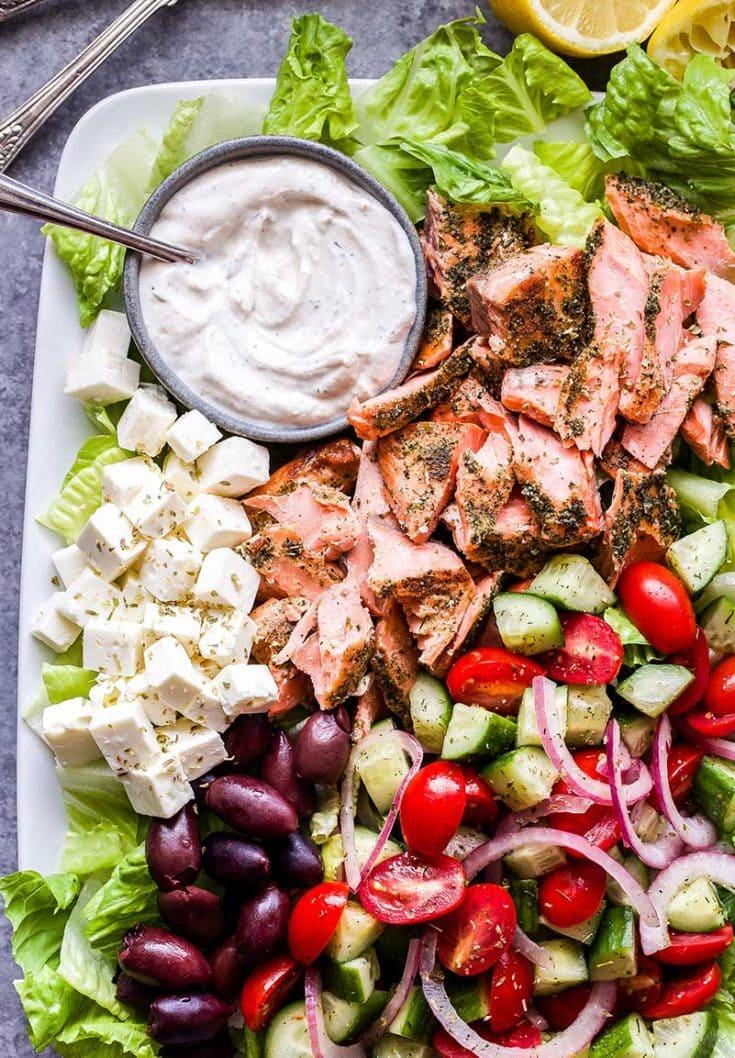 Greek Salmon Salad with Tahini Yogurt Dressing