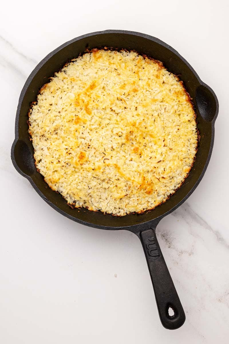 Golden brown baked cauliflower base