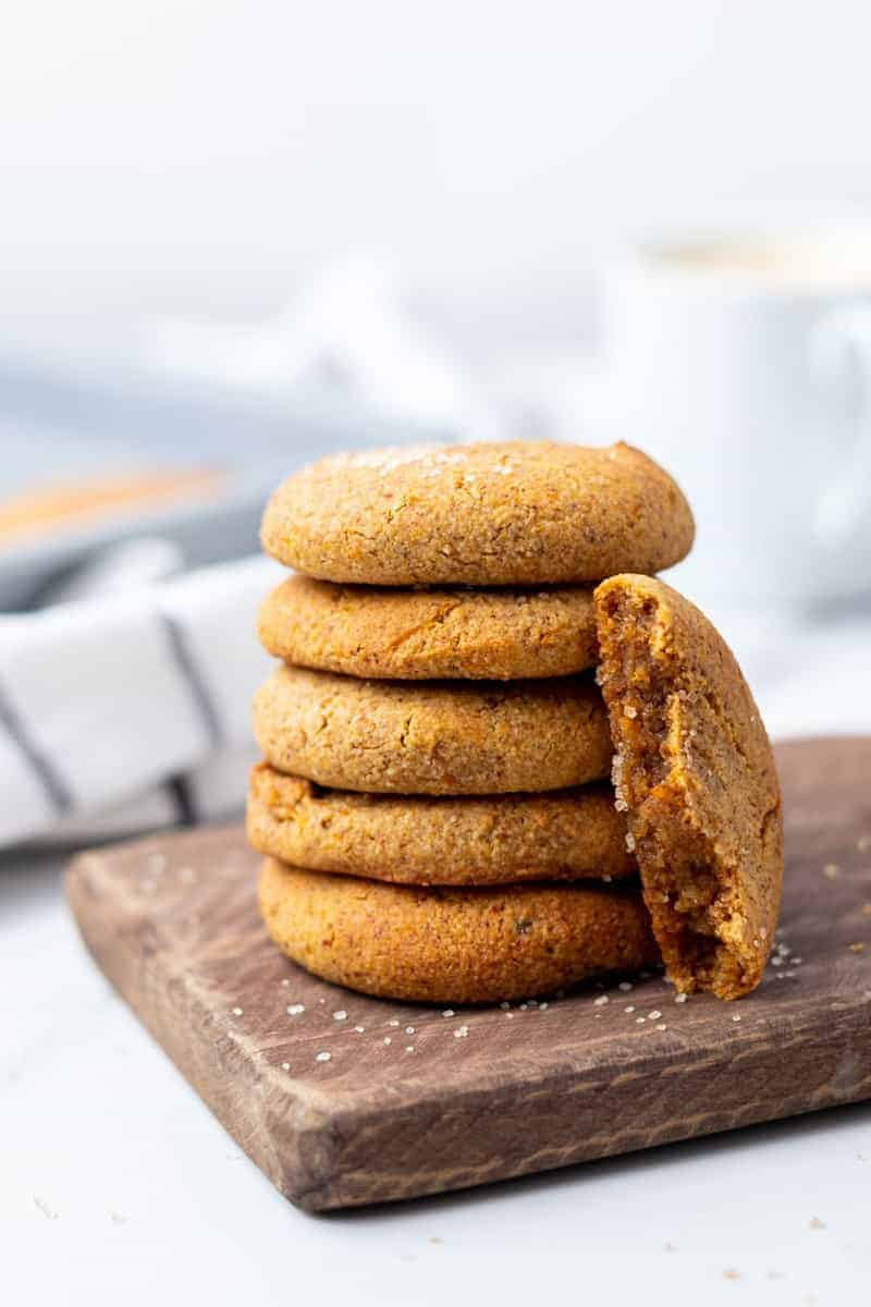 Stack of low carb pumpkin cookies ready to be served
