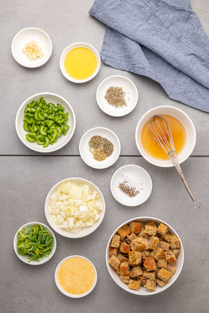 Ingredients for the stuffing in individual bowls