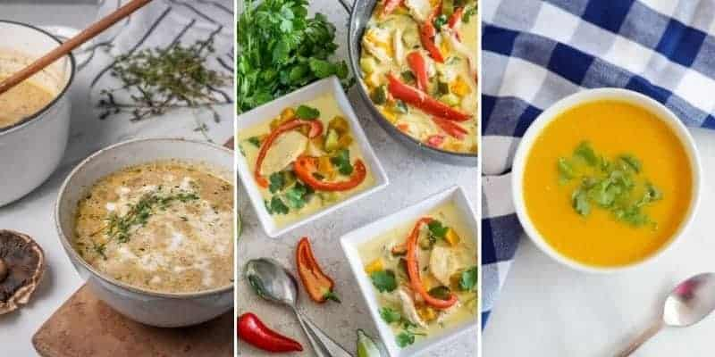 featured image for the low carb soup recipe roundup
