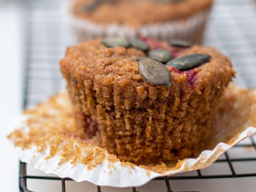 Healthy Pumpkin Raspberry Muffins