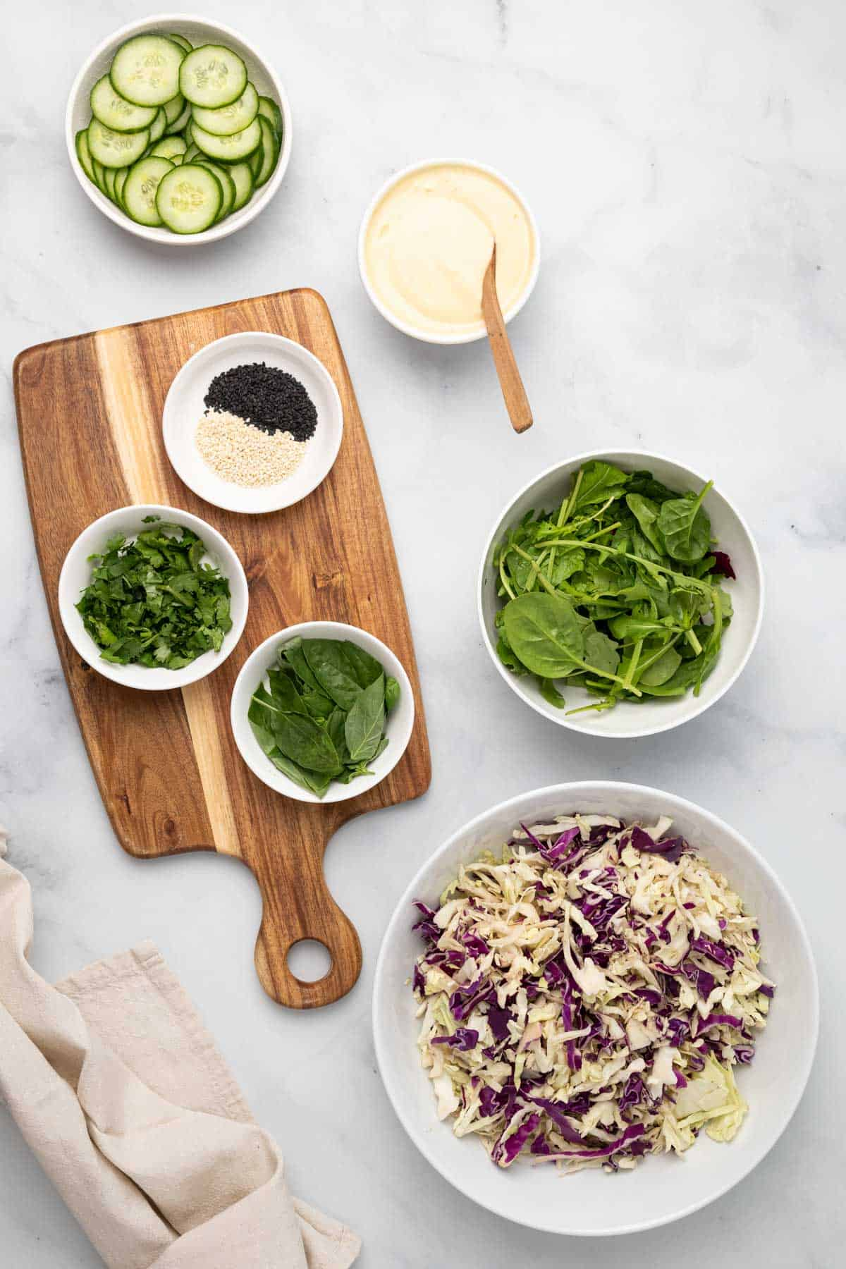 ingredients for the salad on a wooden board