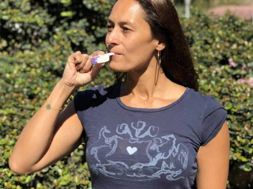 Christel using the Afrezza Inhaler