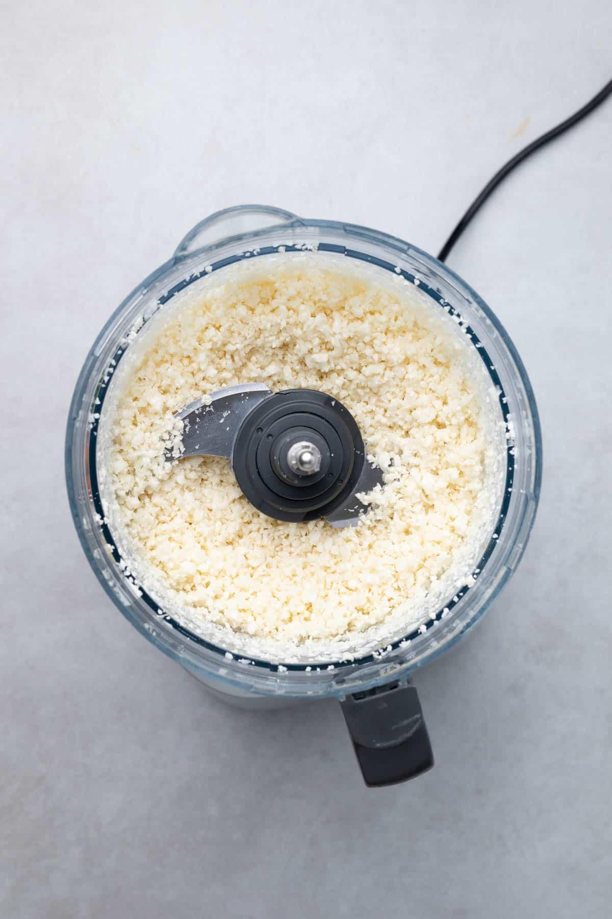 riced cauliflower in a food processor