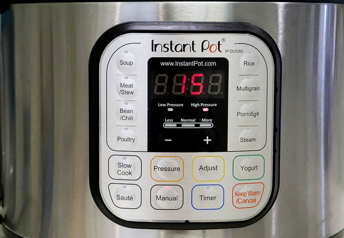 Close-up of instant pot settings