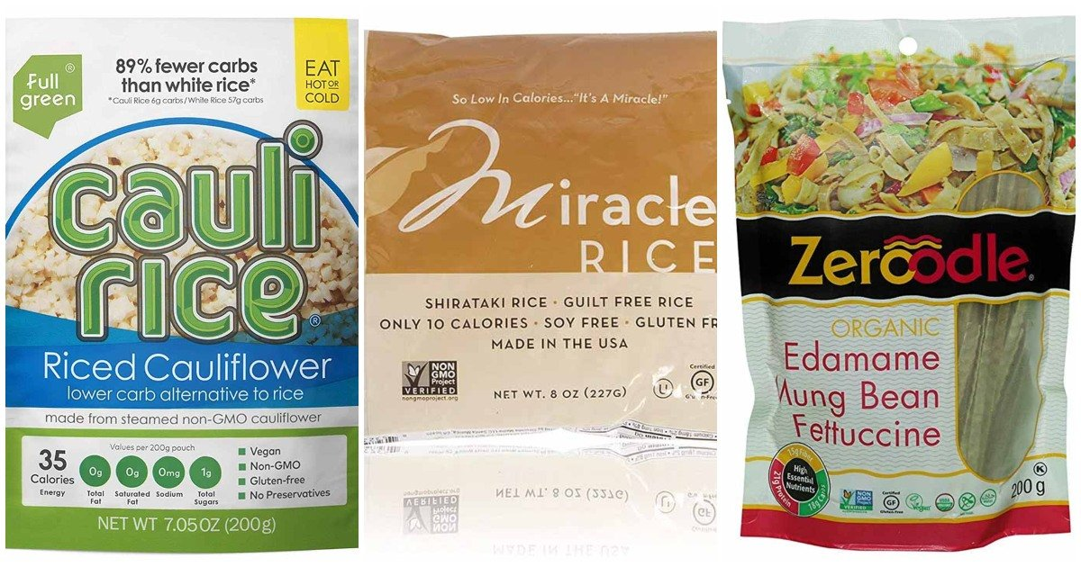Collage of packaging for low-carb rice alternatives