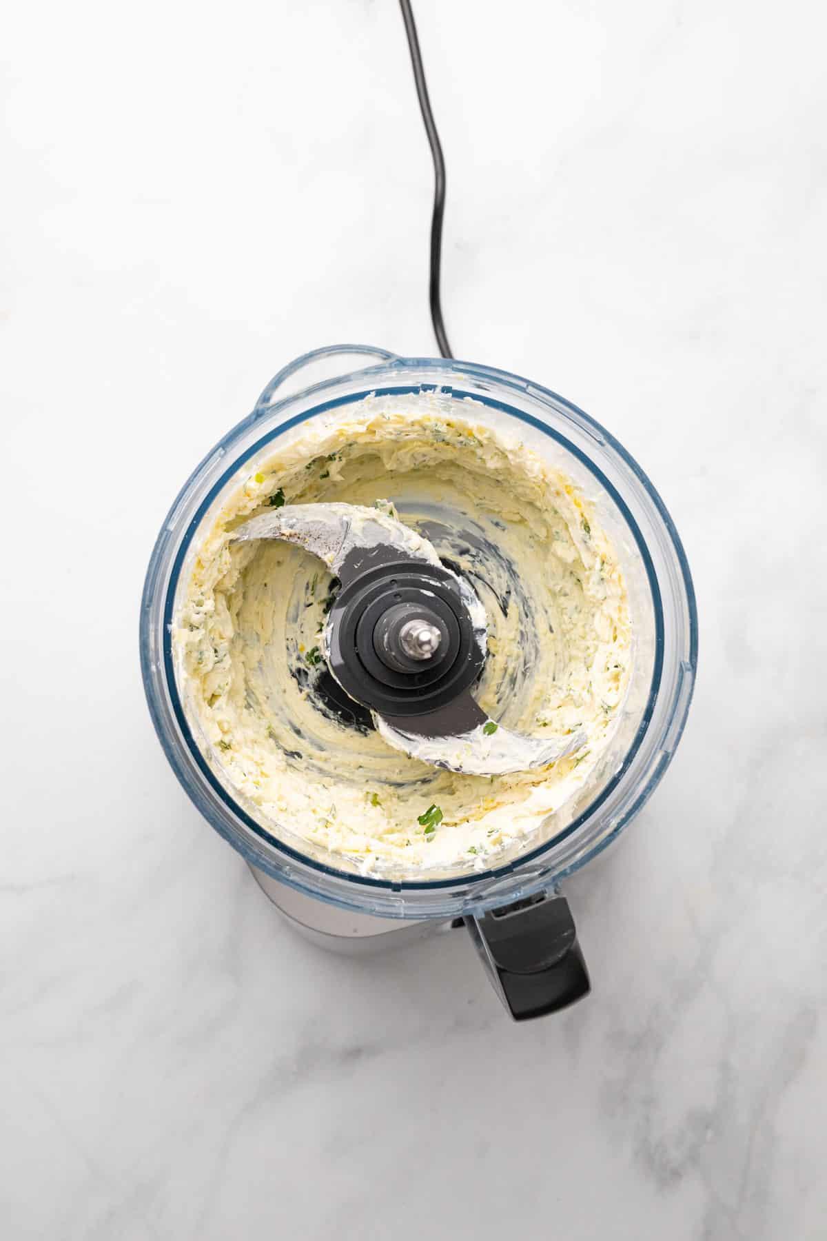 Blended ingredients in food processor