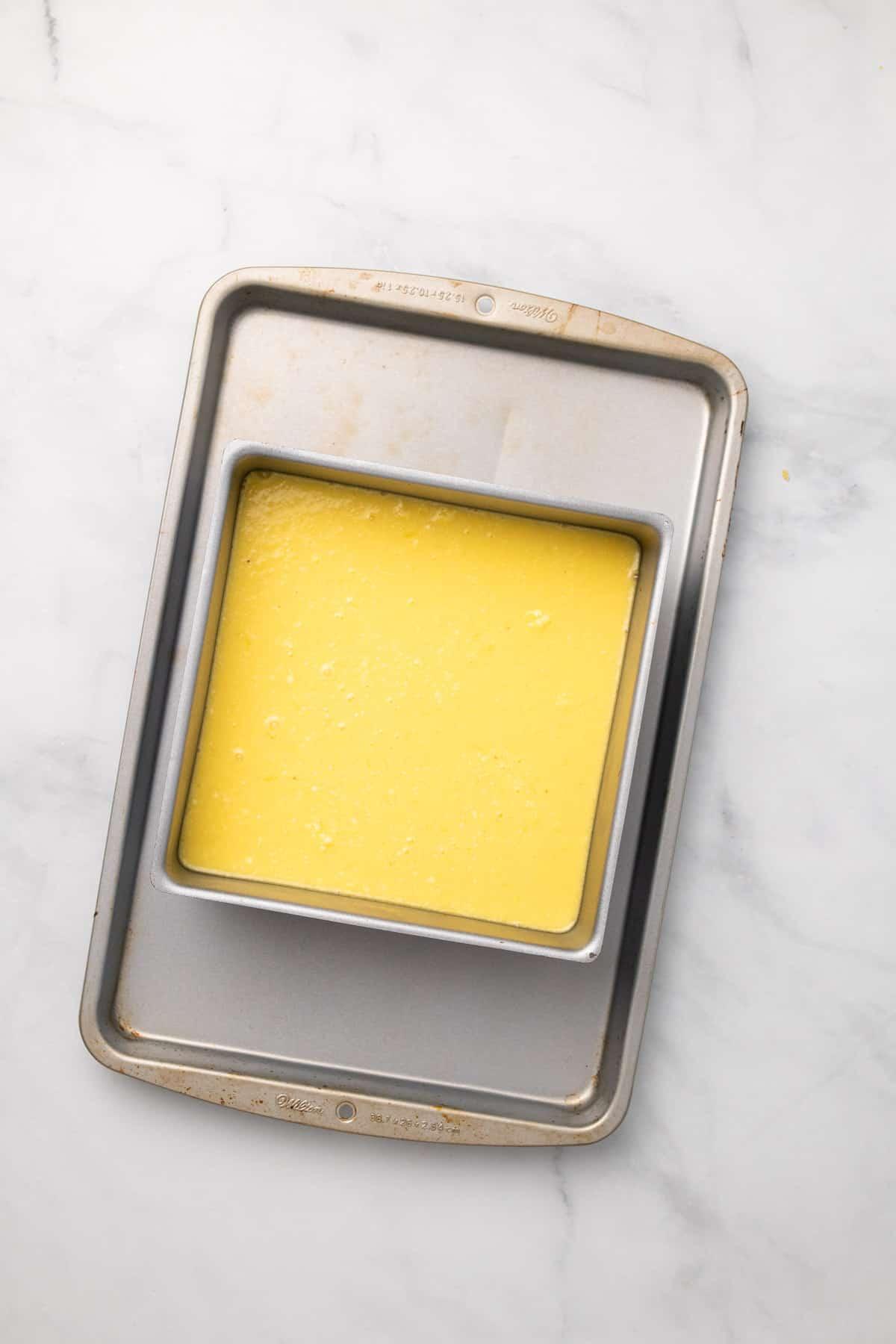 Baked lemon bars in the pan
