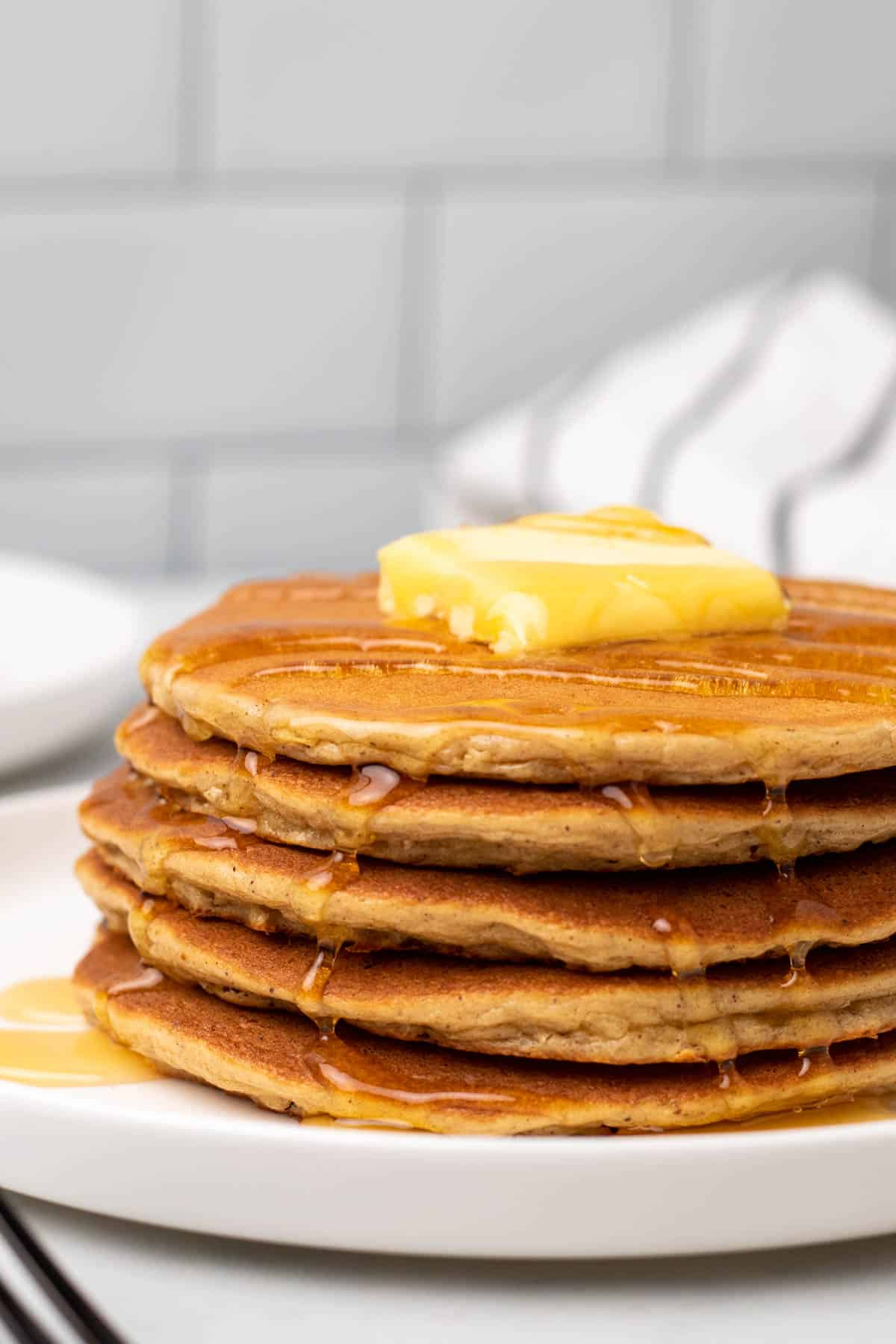 close up of served pancakes ready to be eaten