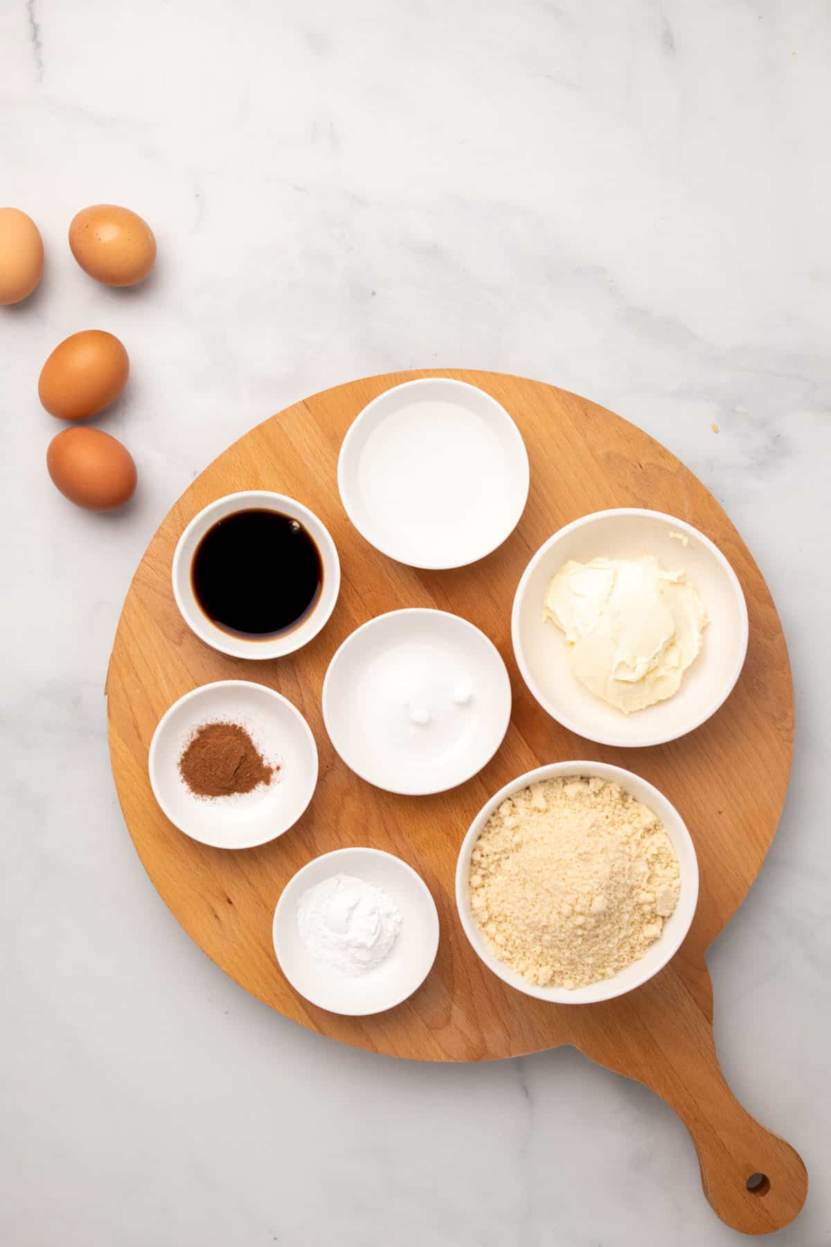 ingredients for the pancakes on wooden board