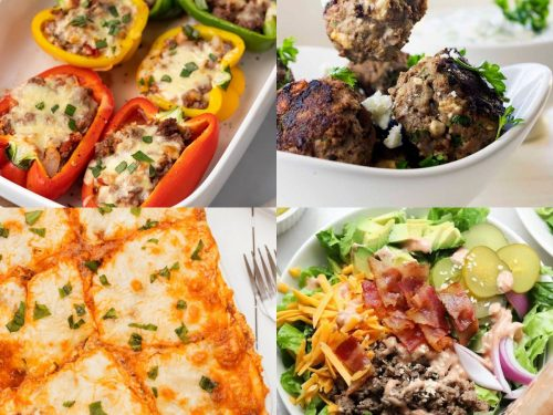 Collage of low-carb ground beef recipes