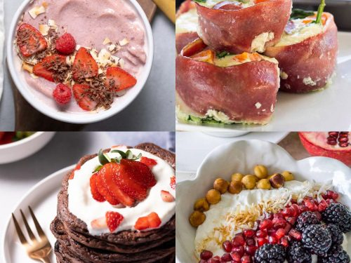 Collage of high protein breakfast recipes