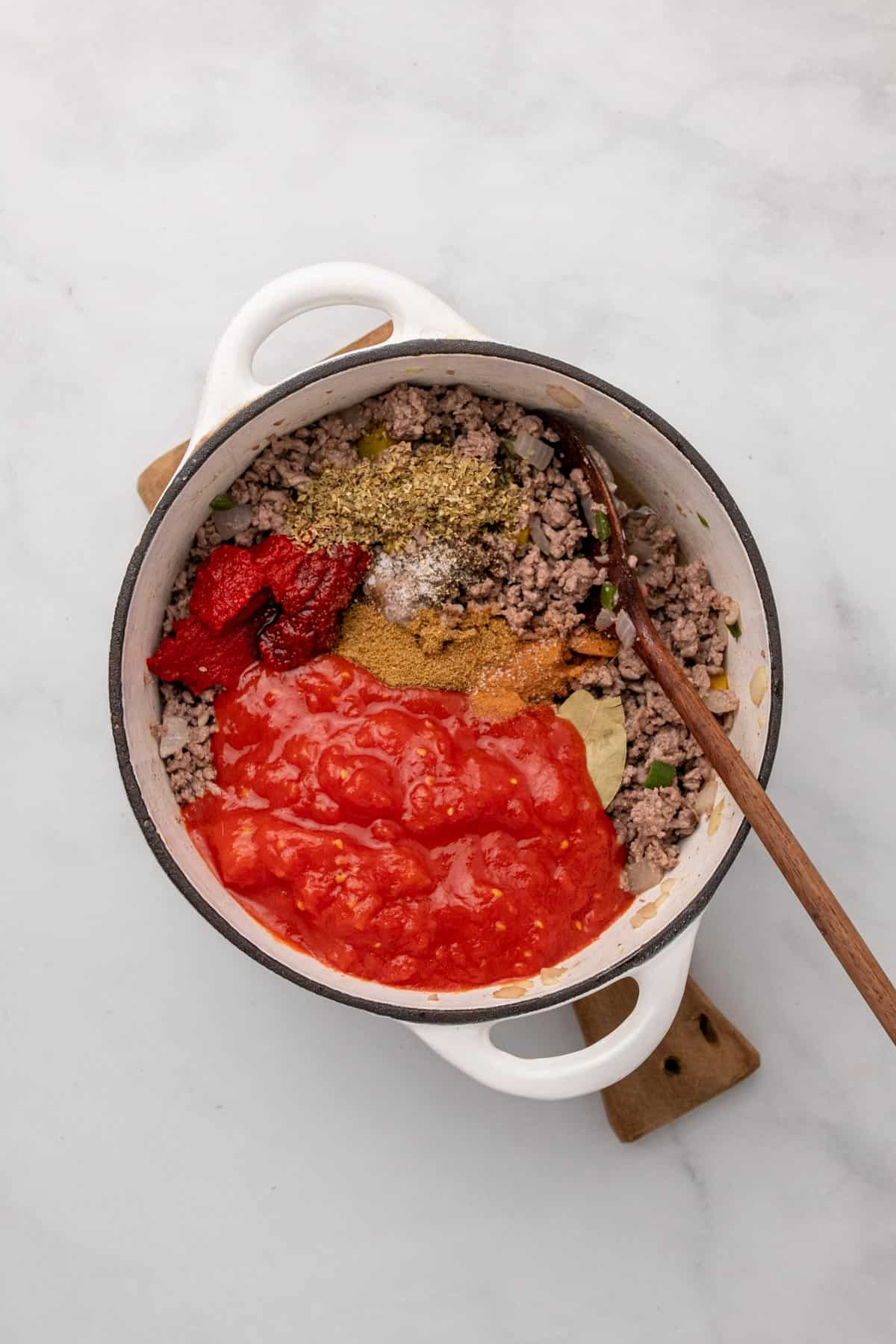 All ingredients in the pot, unmixed