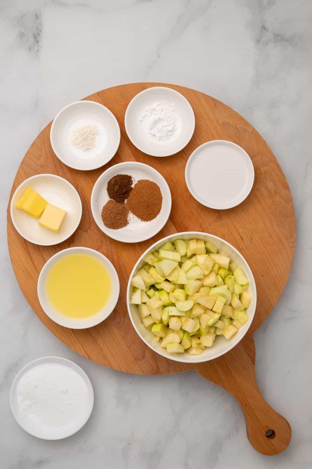 Ingredients in separate ramekins, as seen from above