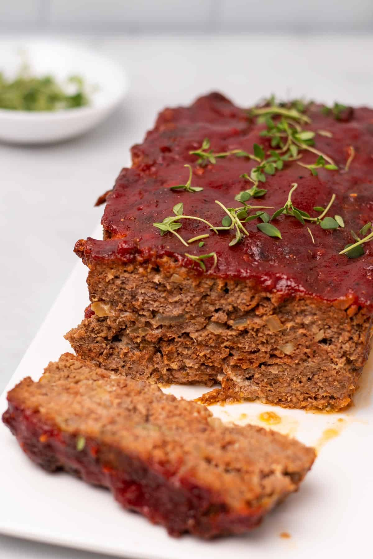 Meatloaf with one slice cut