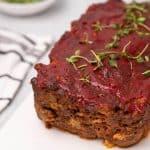 Keto meatloaf garnished with thyme