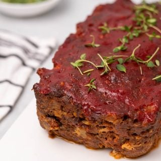 Keto meatloaf garnished with thyme