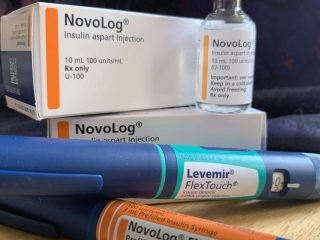 Insulin products on table