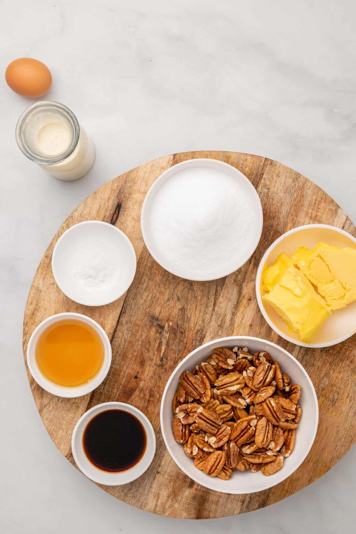 Ingredients for pie filling in separate ramekins, as seen from above