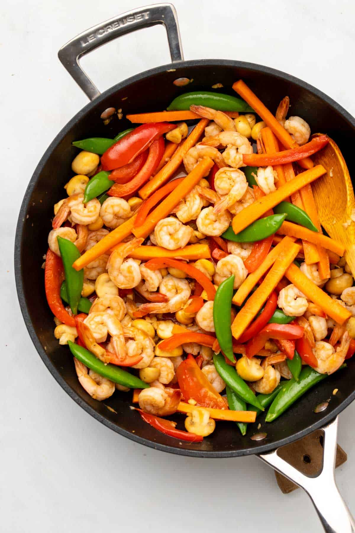 Stir fry in skillet, as seen from above