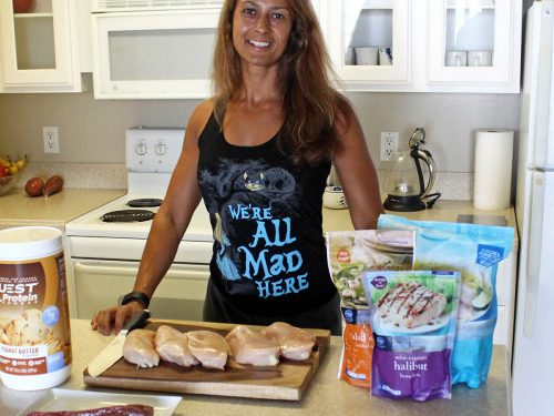 Christel meal prepping in her kitchen