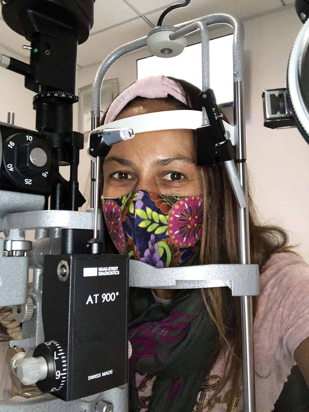 Christel with her head in the Slit Lamp
