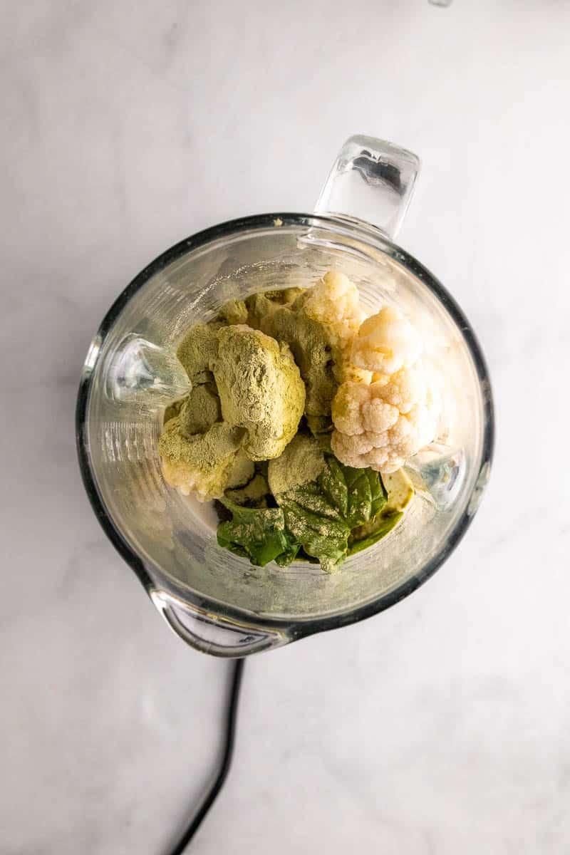 Smoothie ingredients, unblended, in the blender