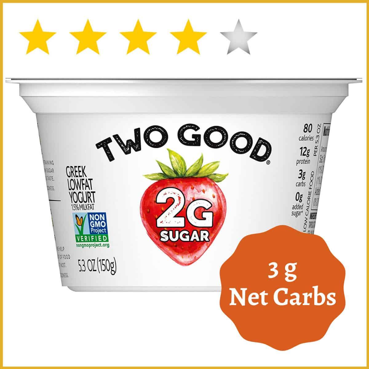 Two Good Low fat Greek Yogurt, Strawberry, Lower Sugar