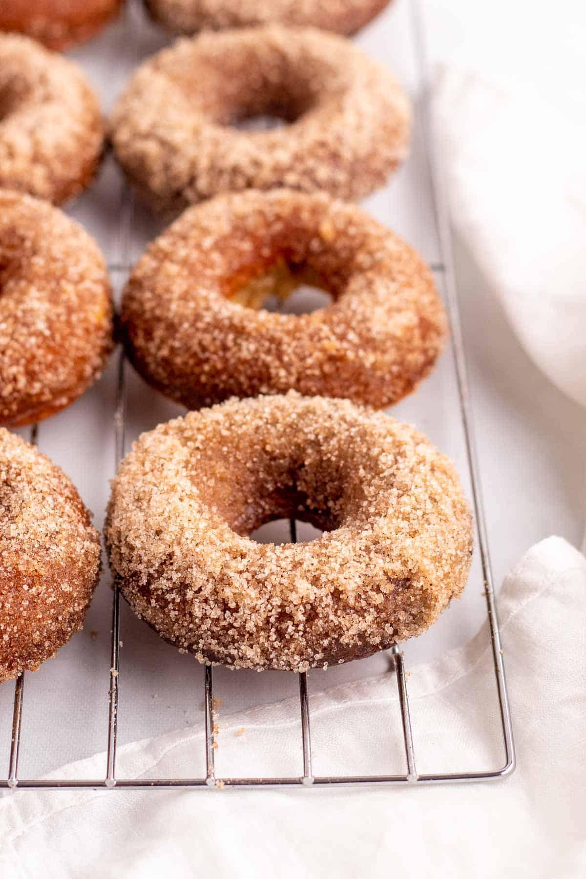 Closeup of cinnamon sugar donuts on a cooling rack
