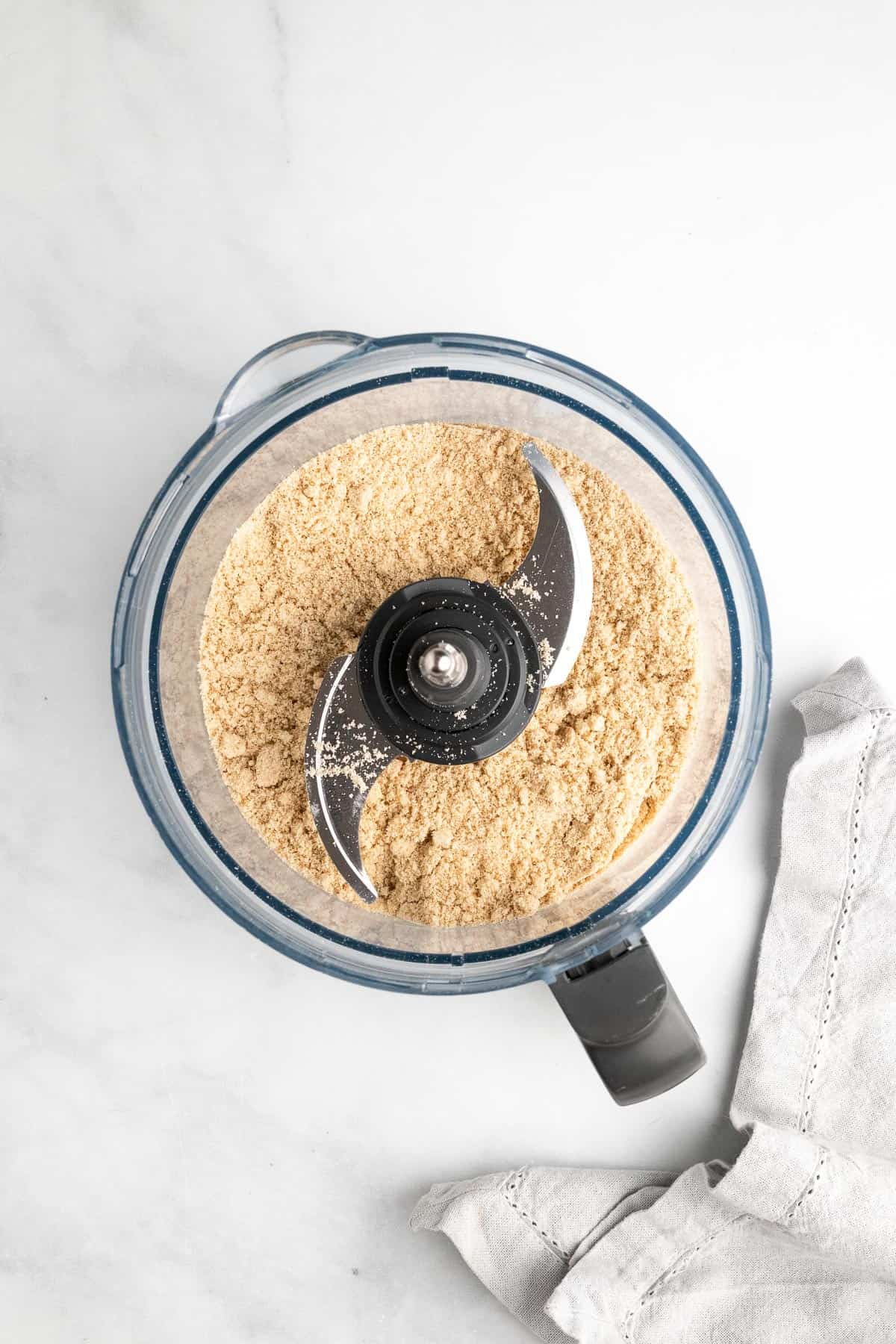 Dry ingredients in the food processor, as seen from above