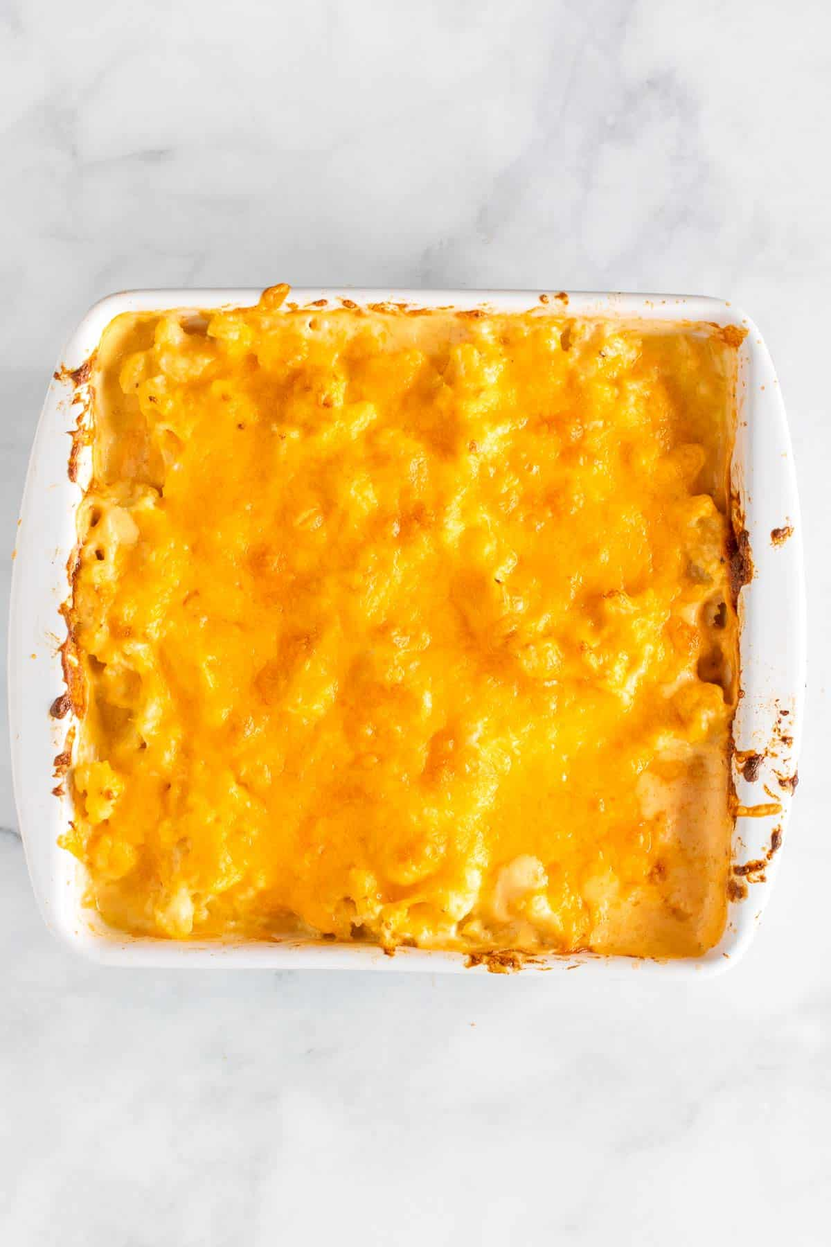 Baked mac and cheese with cauliflower, as seen from above