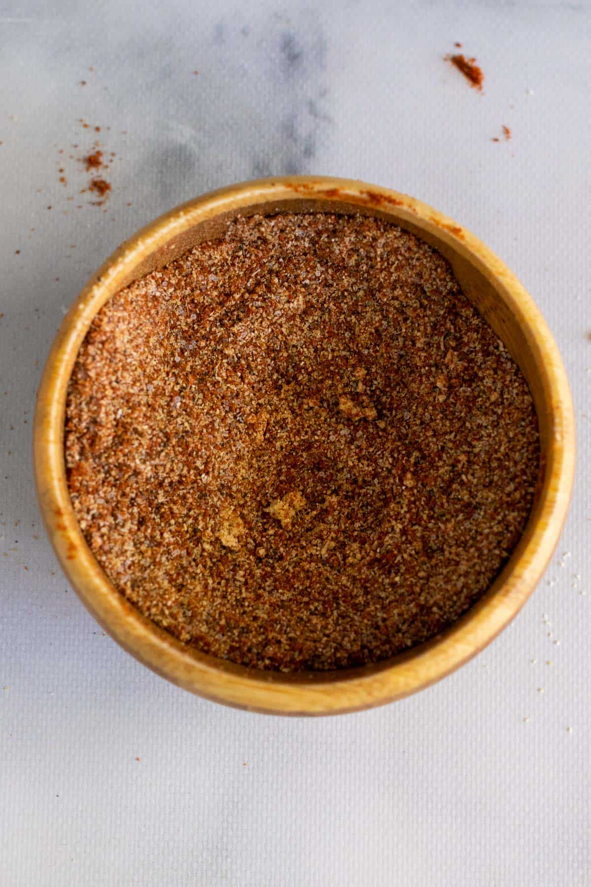 Seasoning mixture in a small ramekin, as seen from above