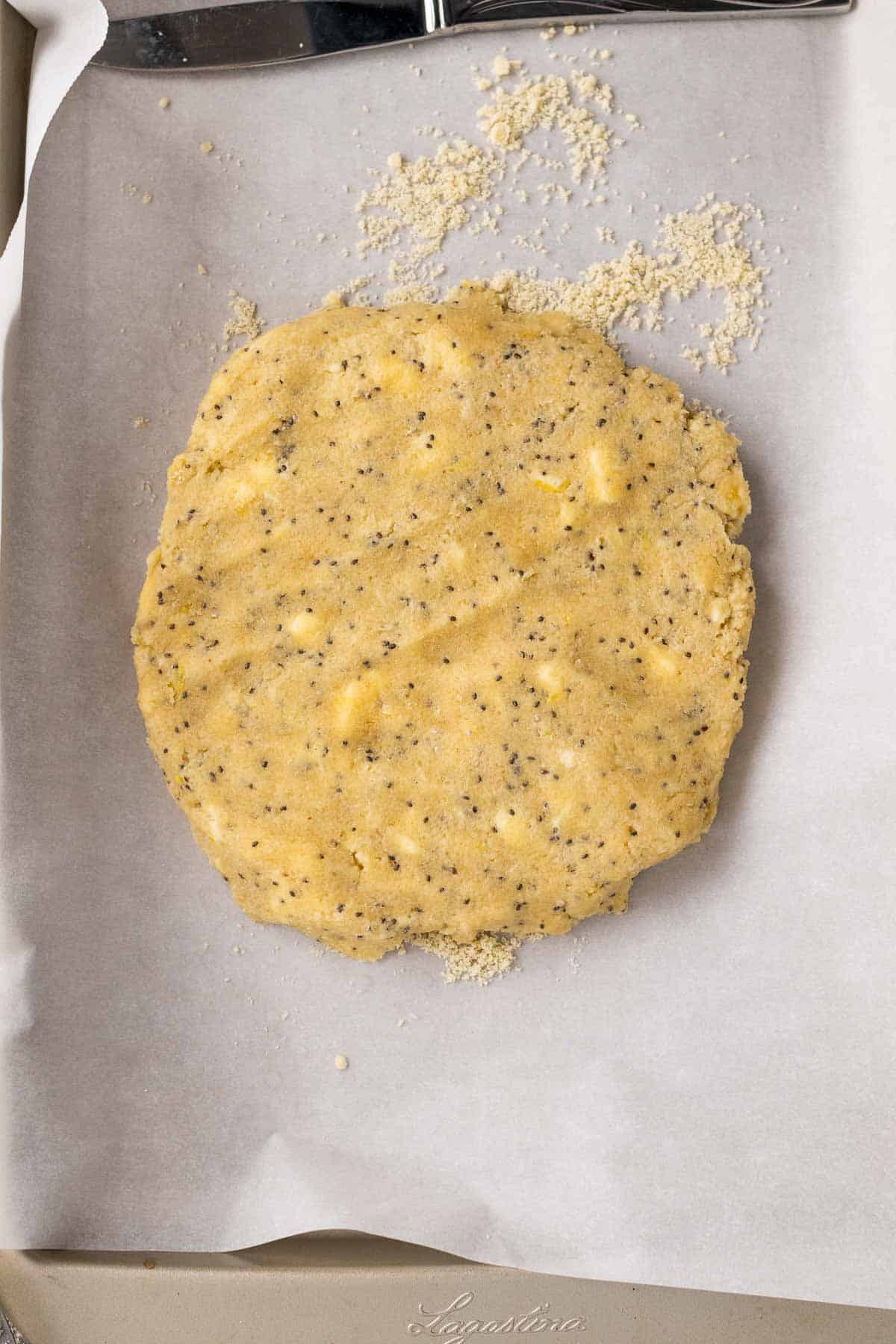 Scone dough flattened into a circle on a baking sheet lined with parchment paper