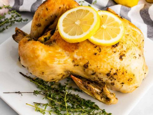 Dutch oven chicken on a white plate next to thyme sprigs and garnished with two lemon slices